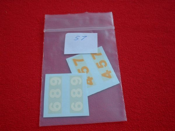 Dinky Toys Set of 6 racing Numbers for the Dinky 230 231 232 233 234 235 TRANSFERS / DECALS